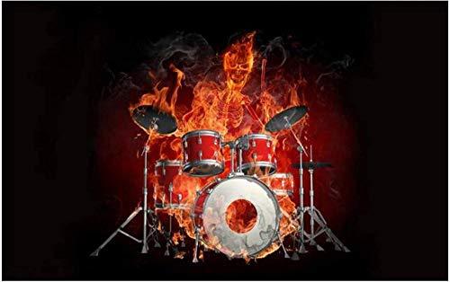 Cuadro en lienzo con imagen de tambor rojo fuego para el hogar, carteles e impresiones artísticos de pared para la decoración del hogar de la sala de estar, 40x60 cm sin marco