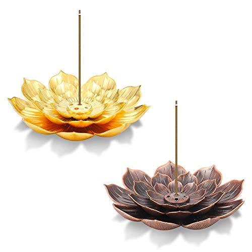 AUXSOUL 2 Stücke Räucherstäbchenhalter Lotus Ash Catcher Kupfer Weihrauchbehälter Set, Räucherstäbchenhalter in Lotus-Form, Lotus Censer Stick Incense Holder for Stick Incense