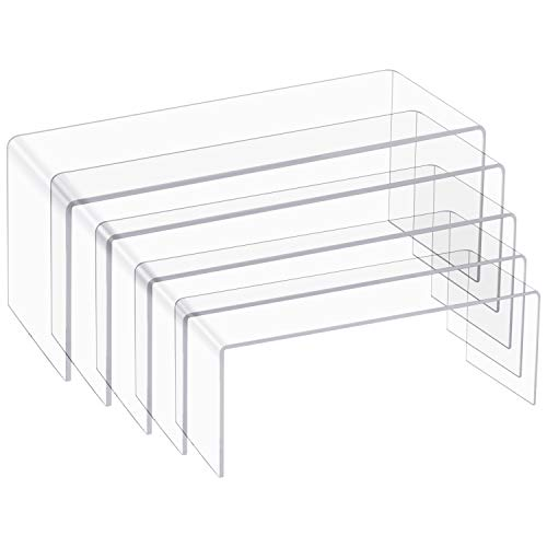 5 Pack Large Clear Acrylic Display Risers, 5 Sizes Acrylic Jewelry Display Riser Shelf Showcase Fixtures for Cake, Candy Display Stand