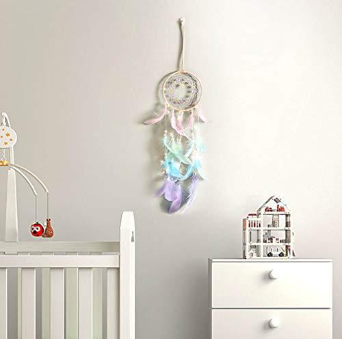 Keleily atrapasueños infantil niña atrapasueños colores atrapasueños para dormitorio, Red de atrapasueños hueca, adornos para colgar en la pared, adornos para niña, mujer, boda, artesanía, regalo-A