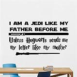 pegatina de pared pegatina de pared frases Harry Potter Star Wars Cotizaciones Vinilos decorativos Vinilo Soy un Jedi Como mi padre Antes de Hogwarts fpr nursery kid room Sala de estar