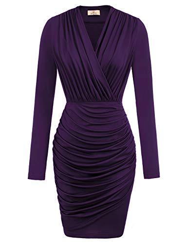 GRACE KARIN Women's Sexy V- Neck Long Sleeve Ruched Bodycon Mini Club Dress Purple 1 XXL