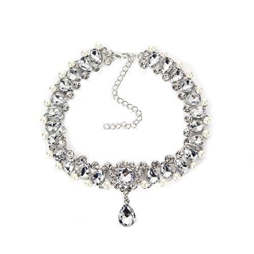 Mingjun Diamond cuello Rhinestone gargantilla collar colgante elástico ajustable collar para mujer chica Lady