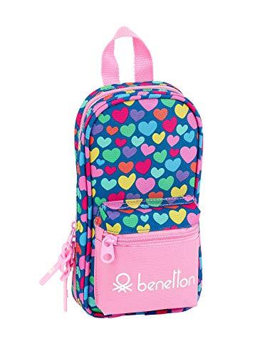 Benetton Cuori Plumier mochila 4 estuches llenos, 33 piezas, escolar