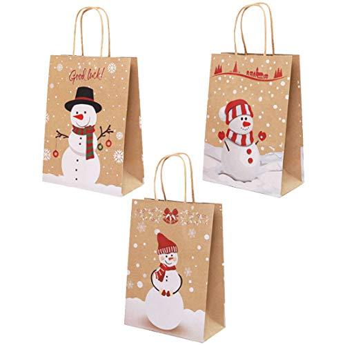 Bolsa Navidad YUESEN Papel Kraft Regalo con Asas Reutilizables Reciclables Para Fiestas, Ceremonias de Graduación, Bodas, Aniversarios, Navidad (12PCS,3 Estilo)