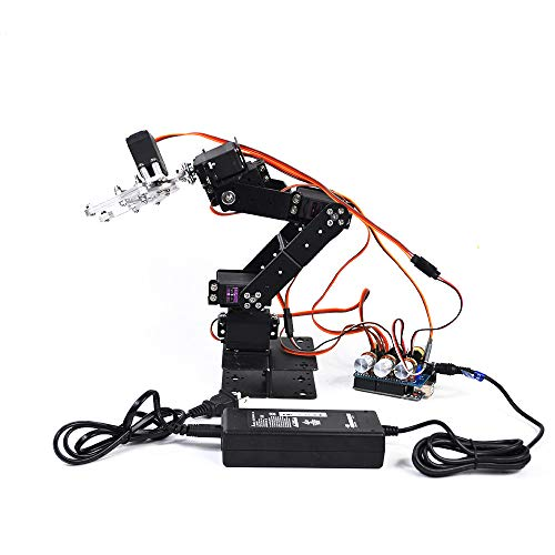 WYY 6DOF Robot Arm Assembly Kit for Arduino Fun,Full Metal Robotic Arm with 6 Servo And 5V High Power Adapter,Provide Online Tutorials, Online Source Code