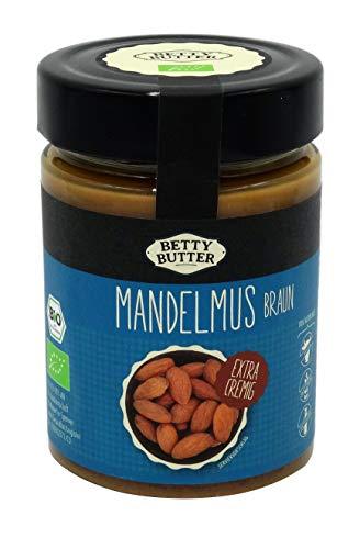 Bio Mandelmus braun, 330 g Glas, Premium-Mandelbutter, Mandelpüree, Almondbutter, natürliches Nussmus ohne Zusatzstoffe