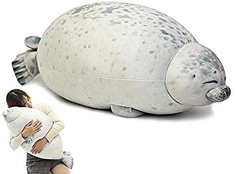 Archile Blob Sellado Almohadas Peluche Animales de Peluche, Peluche Juguete Mar Cojín de Animales Decoración del hogar (M) (Size : WhiteM)