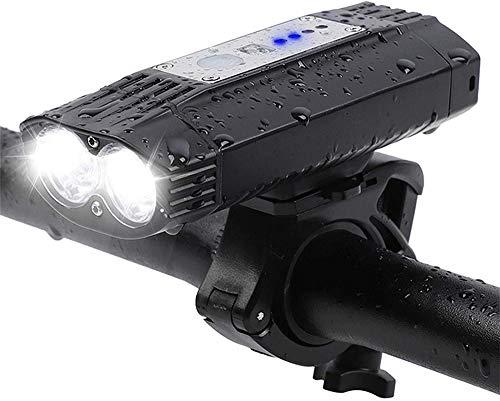HNsusa LED MTB Bicicleta Luz Ciclismo Manillar Linterna USB Recargable Luz Delantera de Bicicleta IPX6 Resistente al Agua Negro