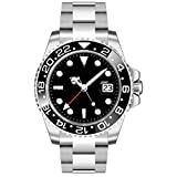 WHATSWATCH Sapphire Glass Parnis 40mm Black Dial Ceramic Bezel Stainless Steel Band GMT Function Automatic Movement Men's Watch