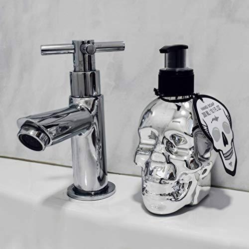 Totenkopf Deko Seifenspender im Skull Head Design inkl. 300ml Flüssigseife Spender für Seife (Chrome)