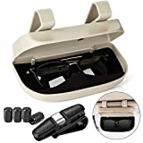 Homesprit Car Sun Visor Glasses Case Holder Clip with Magnetic Closure and Double Snap Clip Design (Creamy-White)