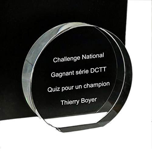 Prensa de papel de cristal redondo: idea original de regalo: Trofeo redondo de cristal personalizable con 3 líneas de texto en grabado.