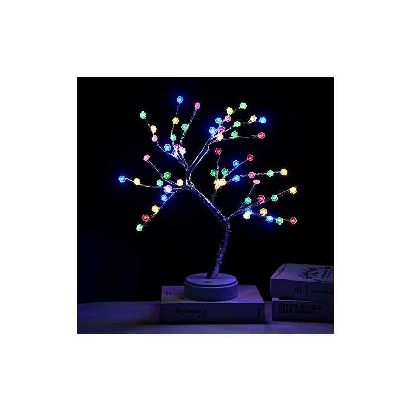 silk flower arrangements extrafein artificial bonsai tree lights - table decor cherry blossom tree fairy lamp, battery/usb operated, lit tree centerpieces for jewelry holder,christmas festival decoraction,mini night light