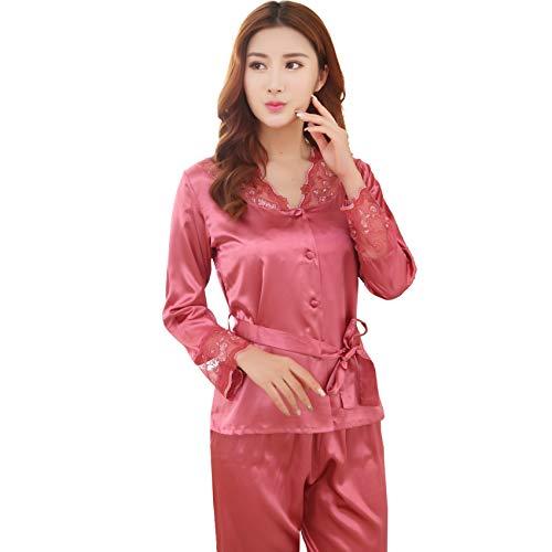 Conjunto de pijama para mujer de longitud completa, parte superior e inferior de manga larga, conjunto de pijama de seda sintética, traje de dos piezas, para el hogar, primavera y otoño, rojo coral, L