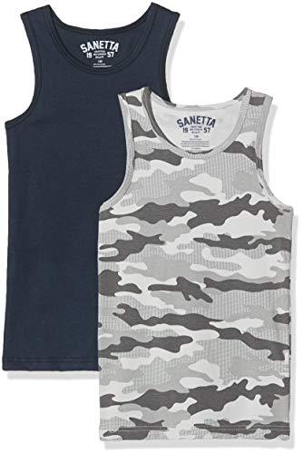 Sanetta Jungen Doppelpack Unterhemd, Grau (grau 1988), (Herstellergröße:140)