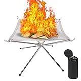 CQWLKEJ Tragbare Feuerschalen 56x56x43cm, Camping Faltbare Feuerkorb, Holzbefeuerte Kamin mit Aufrollbares Stahl Mesh und Klappständer, Outdoor Firepit für Patio, Camping, Grill, Garten