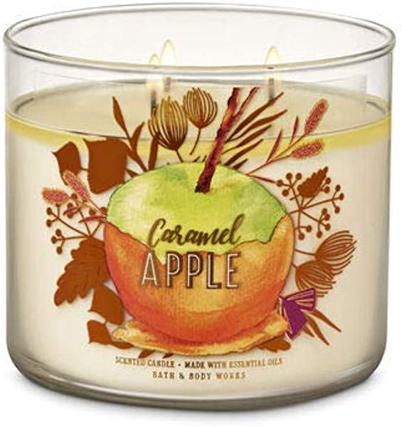White Barn Bath Body Works 3 Wick Candle Caramel Apple