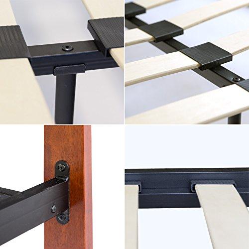Homestyle4u Design Lit en métal Lit Double 160 x 200 avec Sommier Cadre de lit Métal