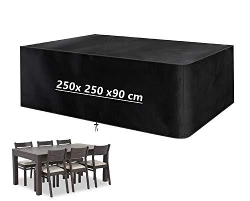 Mutsitaz Copertura per Mobili da Giardino, 420D Rettangolare Impermeabile Telo Poliestere per Mobili Esterni Tavolo e Sedie (250 x 250 x 90 cm)