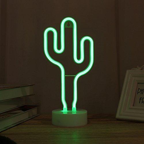 LEDMOMO Lámpara de mesa con luz nocturna LED Cactus con forma de luz decorativa Ambiente Luz de señal de neón Habitación dulce con decoración de la habitación
