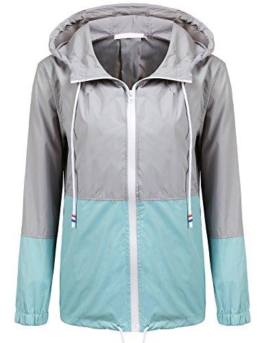 Soteer Women's Waterproof Raincoat Outdoor Hooded Rain Jacket Windbreaker (Lake Blue L)
