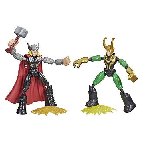 Hasbro Avengers Bend and Flex, action figure Thor vs Loki, personaggi flessibili da 15 cm, per bambini dai 4 anni in su