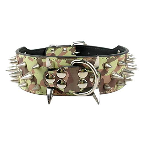 2' Wide Sharp Spiked Studded Leather Dog Collars Pitbull Bulldog Big Dog Collar Adjustable for Medium Large Dogs Boxer S M L XL Camouflage XL
