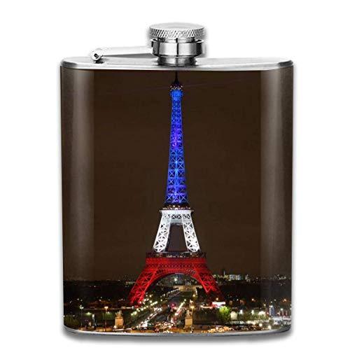 Presock Flaschen für Schnaps, Tricolor Frankreich Flagge Tower City Fashion Portable Edelstahl Flachmann Whisky Flasche für Männer und Frauen 7 Unzen