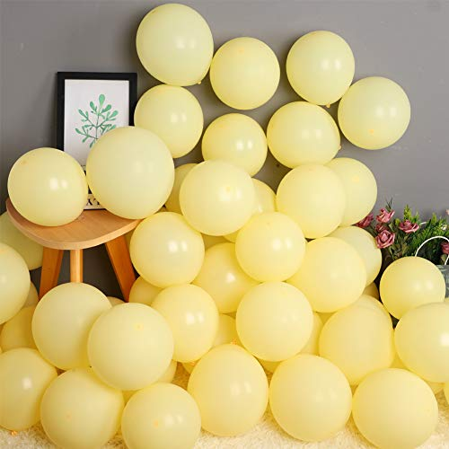 100 Piezas Amarillo Globos Pastel 10 Pulgadas Macaron Latex Balloon Amarillo Claro Globos de Helio Globos de Fiesta para Decoraciones de Cumpleaños Bodas Fiestas Aniversario Baby Shower
