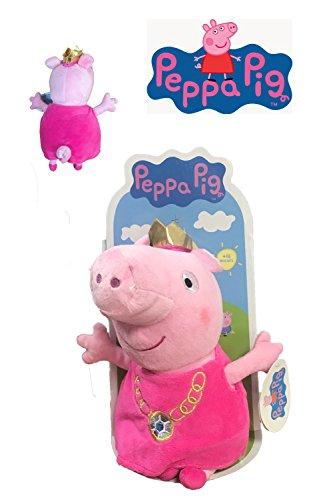 Peppa Pig - Peluche Peppa disfrazada de princesa con collar 27cm Blister - Calidad super soft