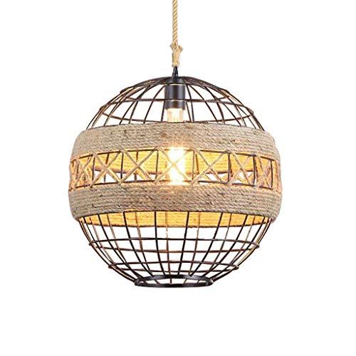 YUQIYU Luces pendientes, forjado del hierro de la vendimia de cabeza redonda individual Restaurante/cafetería/tienda de ropa iluminación de techo de la lámpara (Color : 28cmwarm Light)