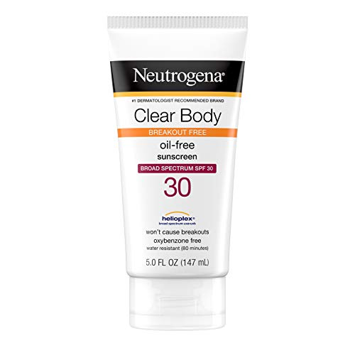 Neutrogena Clear Body Breakout-Free Liquid Sunscreen Lotion for AcneProne Skin, Oil Free Sunscreen, Broad Spectrum SPF 30, Oxybenzone Free, Fragrance Free, Non Comedogenic, Unscented, 5 Fl Oz