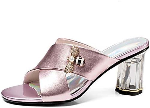 Damen Sommer Hochwertige Quadratische High Heels Leder Frauentau Mit Mit Mit Sandalen Offene Zehen Damen Hausschuhe,Rosa,39  auf der ganzen Welt gut verkaufen