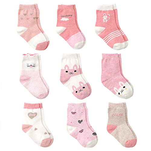 Cotton Coming Rosa Algodón Niñas Calcetines Bebé,9 Pares Lindo adj. Bebé Calcetines Niña (6-12 meses,EU16-18)