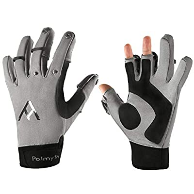Palmyth Flexible Fishing Gloves Warm for Men and Women Cold Weather Insulated Water Repellent Great for Ice Fishing Fly Fishing Photography Motorcycling Running Shooting Cycling (Black/Grey, Large)