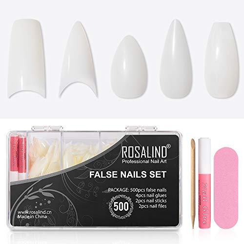 VOXURY 500 Stück 10 Größen Nägel Tipps Kleber Acrylic Faux Ongles Natural, Falsche Nägel Set mit Kleber, Künstliche Fingernägel 5 Types