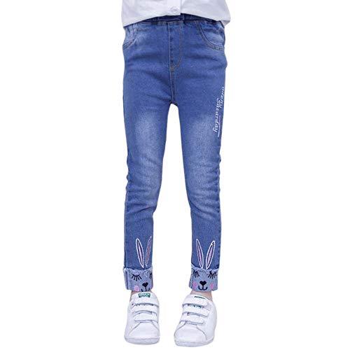 URMAGIC Pantalon Denim Jean pour Fille Enfant Bébé Casual Long Chaud Souple 3-14 Ans