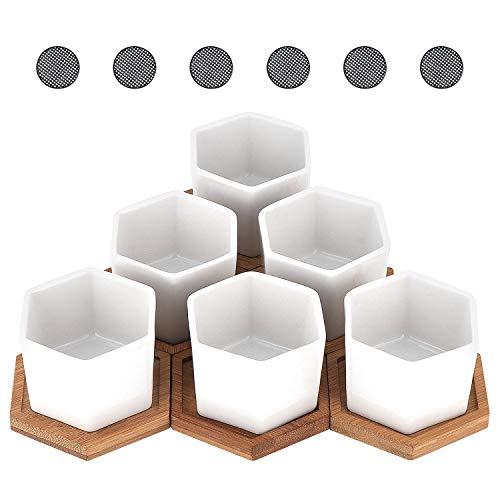Fippy - Set di 6 vasi per piante grasse con drenaggio esagonale, in ceramica, con vassoio in bambù, colore: bianco