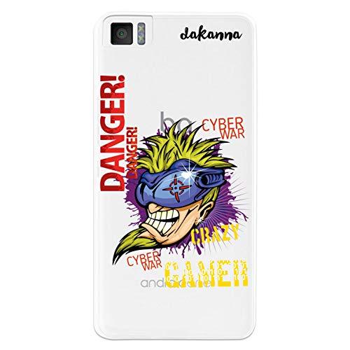 dakanna Kompatibel mit [Bq Aquaris M4.5 - A4.5] Flexible Silikon-Handy-Hülle [Transparenter Hintergr&] Verrückter Spieler, Crazy Gamer Design, TPU Hülle Cover Schutzhülle für Dein Smartphone