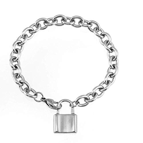 N/Z Edelstahl Armband Damen Herren Edelstahl Schloss Armband quadratisches Vorhängeschloss Charm Armband 8mm Kabelkette Armband