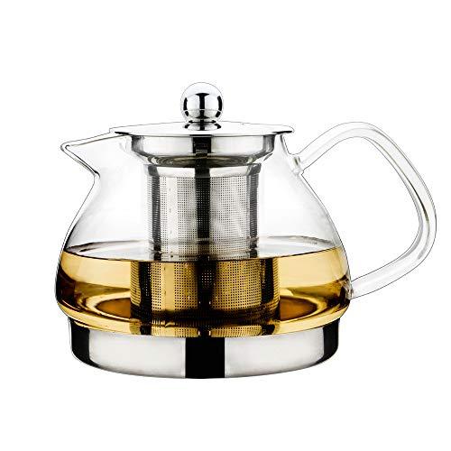 TOYO HOFU Tetera a prueba de calor del vidrio de Borosilicate del vidrio claro alto con el infuser, olla de la olla de la cocina de inducción, 800ml (800)