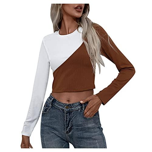 Julhold Tops cortos para mujeres de dos colores de costura de manga larga cuello redondo otoño invierno blusa Jumper camiseta, caqui, M
