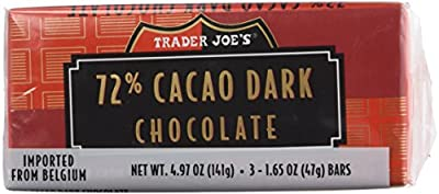 Trader Joe's 72% Cacao Belgian Dark Chocolate Bars (2 Packs of 3)
