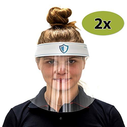 2 x Visier Gesichtsschutz - Gesichtsmaske aus Kunststoff - leichte ergonomische Vollgesichtsabdeckung - Mundschutz, Atemschutzmaske und Brille/Schutzbrille können zusätzlich getragen Werden