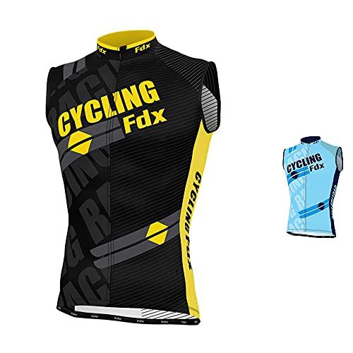 FDX, maglia da uomo senza maniche, da ciclismo, traspirante, FDX-Sleeveless-1A, Yellow, S