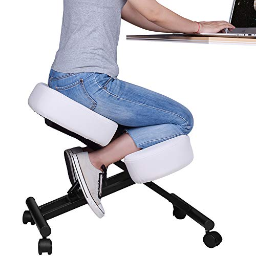 DRAGONN by VIVO Ergonomic Kneeling Chair, Adjustable Stool for Home and Office - Improve Your Posture with an Angled Seat - Thick Comfortable Cushions, White, DN-CH-K01W
