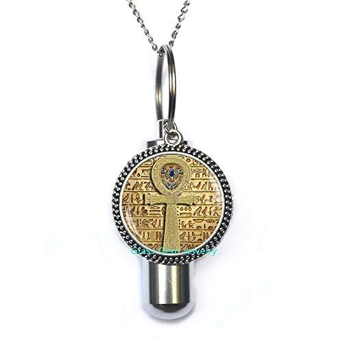 Collar de urna de cremación con cruz ankh egipcia, urna egipcia, joyería egipcia, urna de ankh, collar de urna de cremación egipcia, joyería egipcia, Q0090