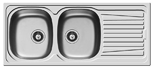 Pyramis Lavello 116x50 in Acciaio Inox lavandino 2 vasche Sinistra con gocciolatoio lavabo + PILETTA 3,5''