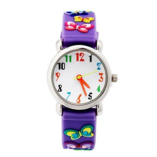 Eleoption Relojes de pulsera resistentes al agua digitales de silicona en 3D con dibujos animados, regalo de profesor para niños y niñas - ZL-002F, Púrpura (Purple Butterfly)